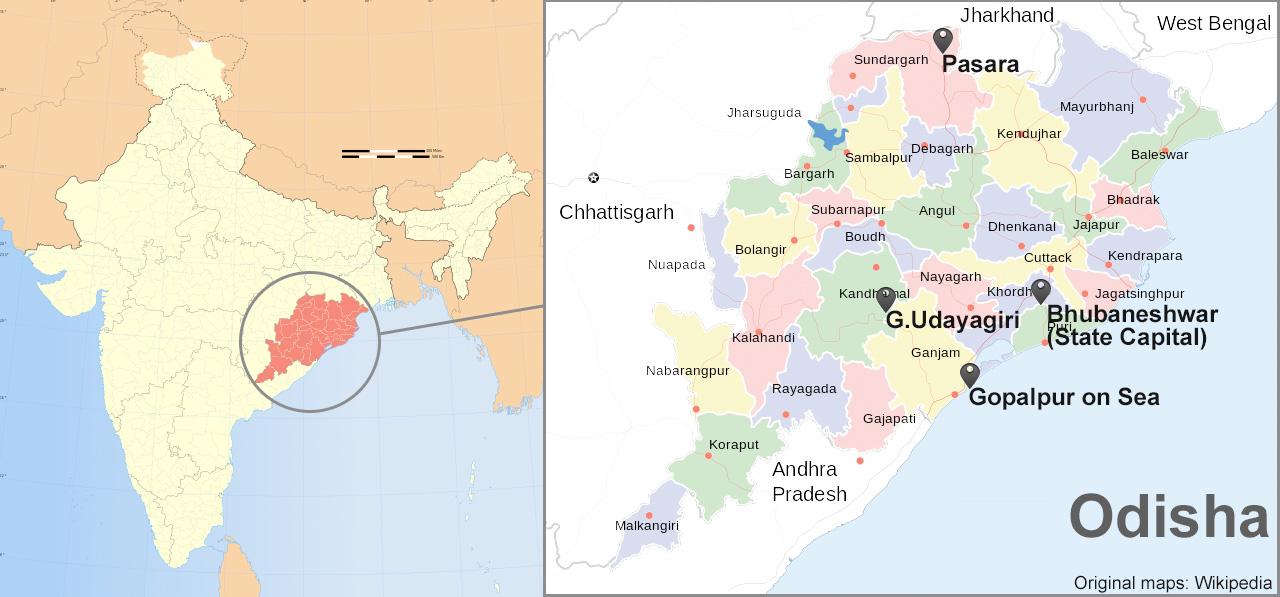 Mapas de India y Estado de Odisha