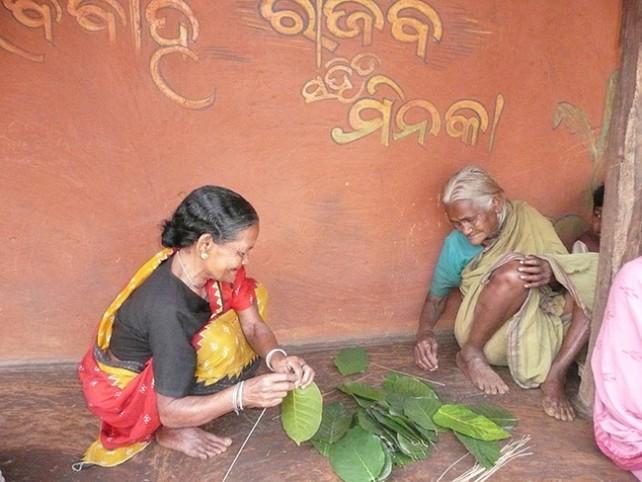 Mujeres haciendo platos para comer con hojas